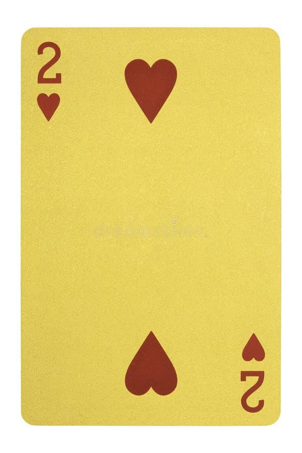Carte da gioco dorate, due dei cuori immagini stock