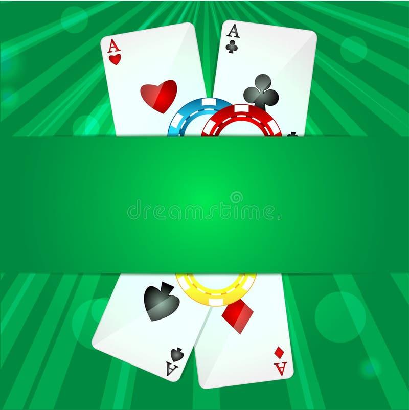 Carte da gioco e chip di poker illustrazione vettoriale