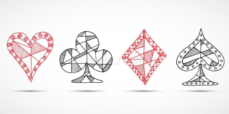 Carte da gioco, poker, simbolo del black jack, fondo, vanghe dei diamanti dei cuori di scarabocchio e simboli schizzati disegnati illustrazione vettoriale