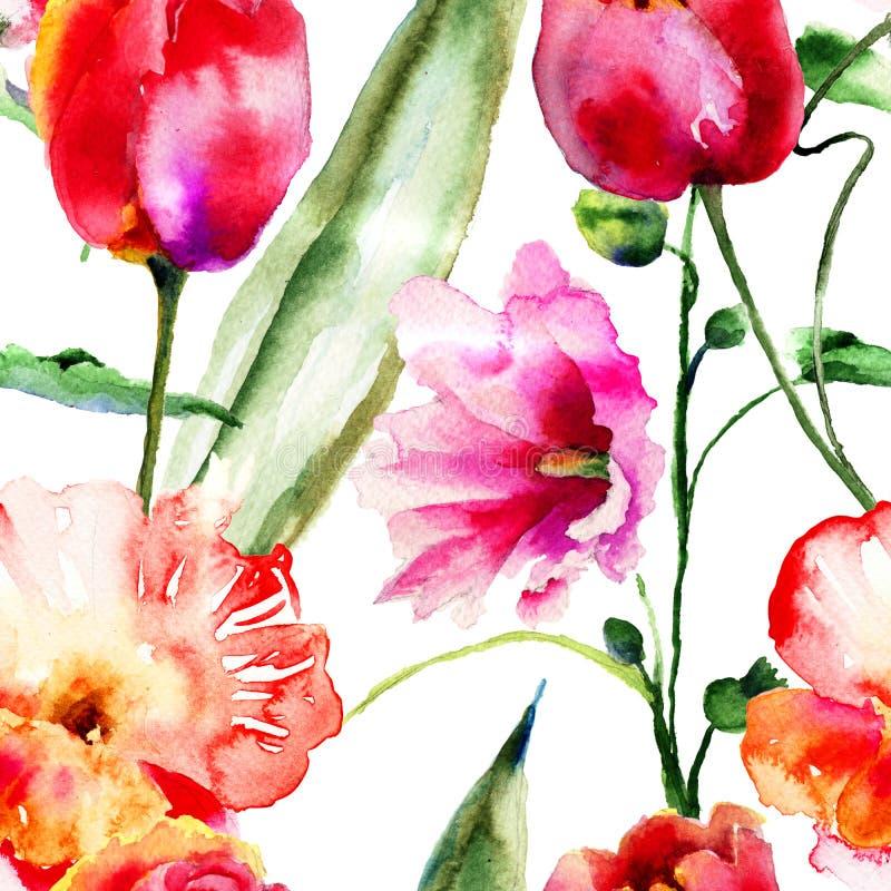 Carte da parati senza cuciture con i fiori decorativi for Parati decorativi