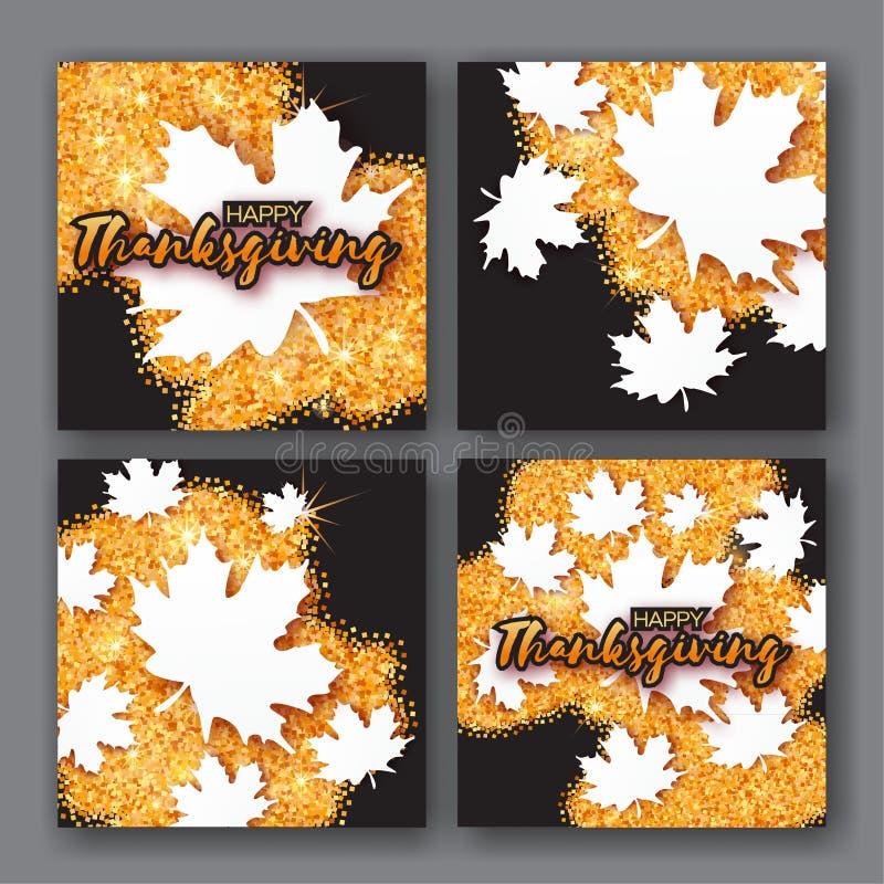 Carte de 4 Autumn Greetings avec le titre heureux de jour de thanksgiving image stock
