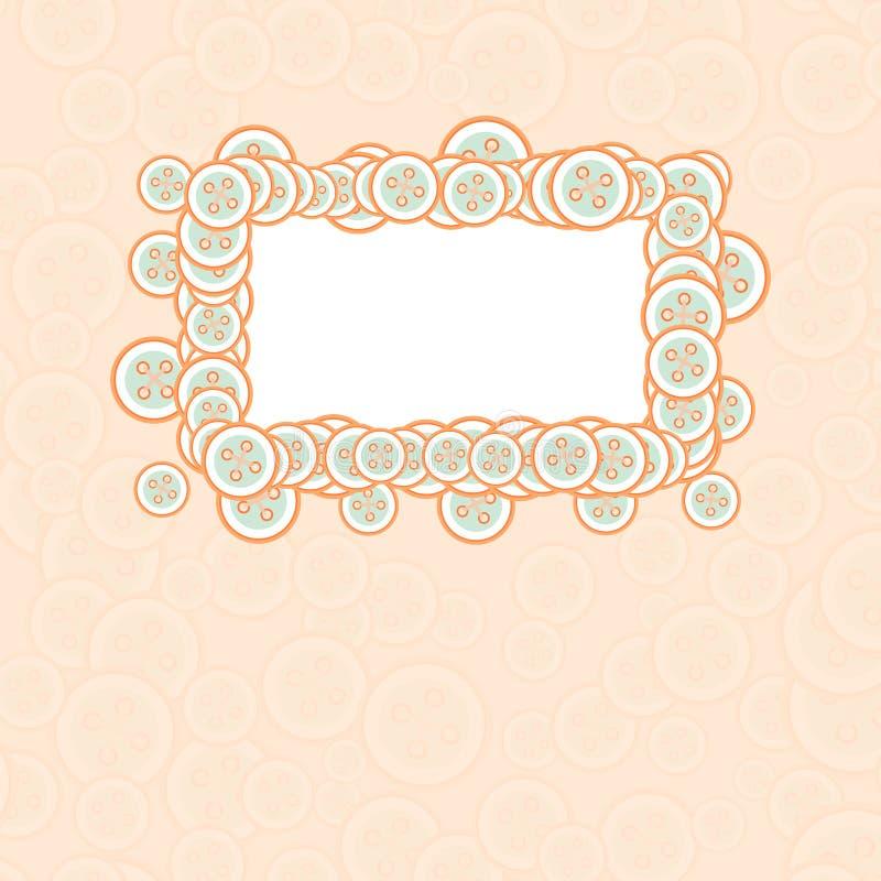 Carte de bébé de vecteur avec le cadre et les boutons illustration stock