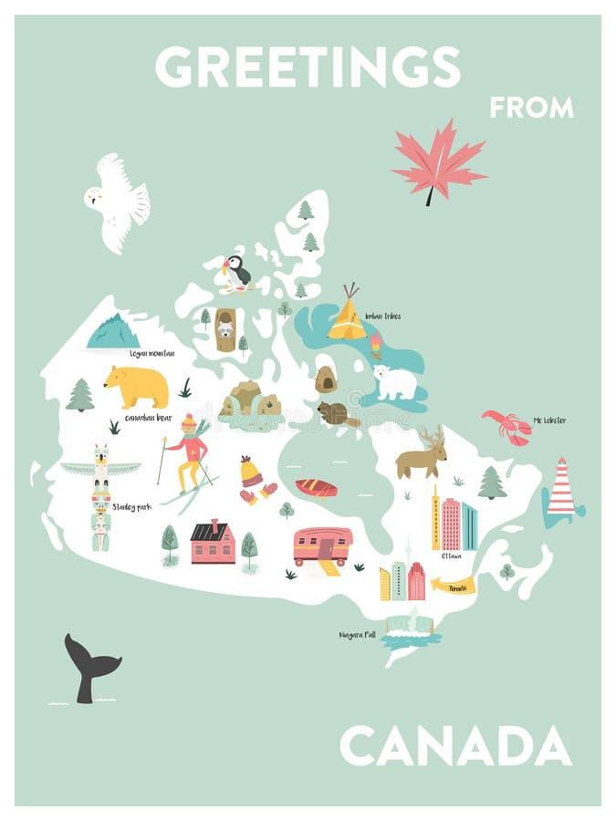 Carte de bande dessinée illustrée par vecteur du Canada illustration de vecteur