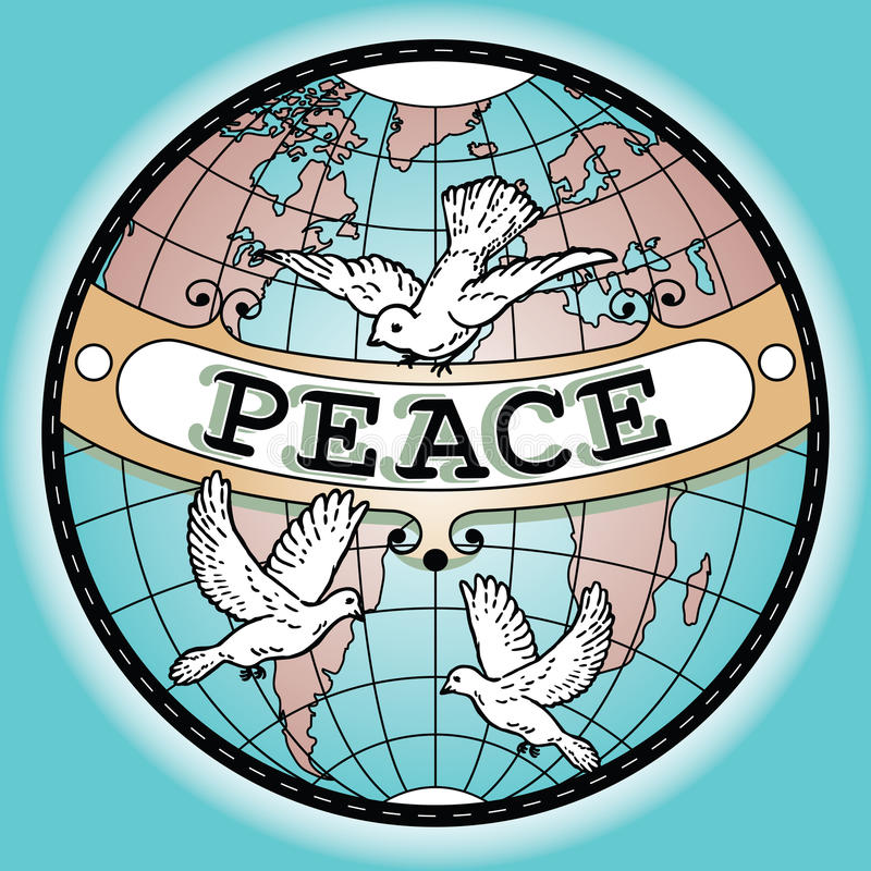 Carte de bannière de paix de globe du monde avec des colombes illustration de vecteur
