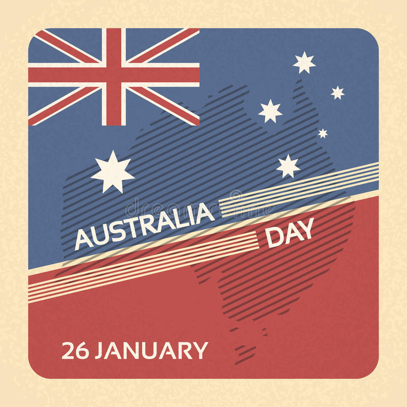 Carte de bannière nationale de drapeau de jour d'Australie rétro illustration libre de droits
