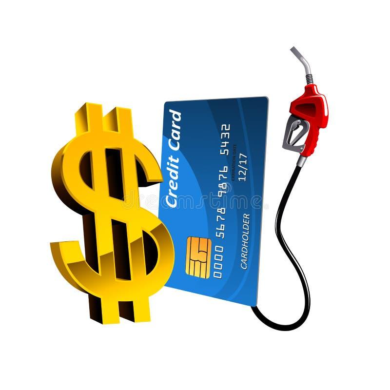 Carte de banque avec le bec et le symbole dollar de pompe à gaz illustration stock