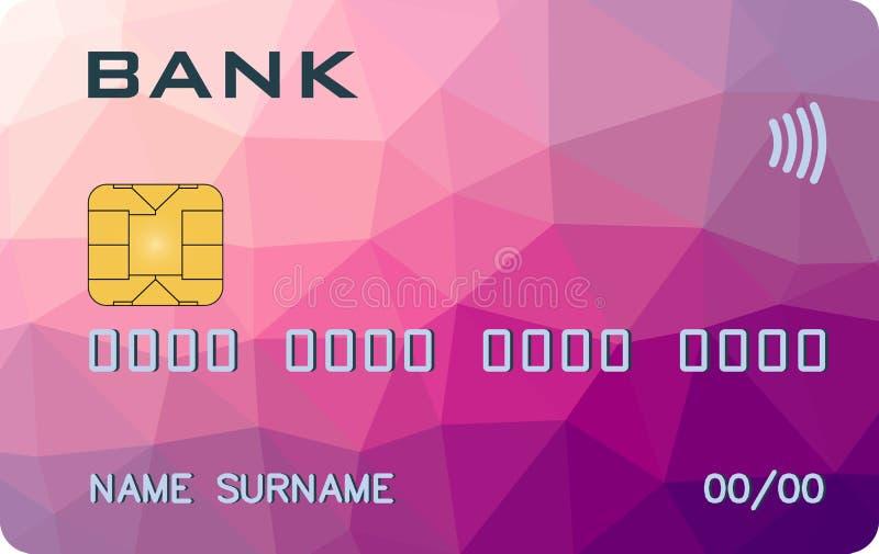 Carte de banque avec le prototype de triangle de PayWave PayPass illustration libre de droits