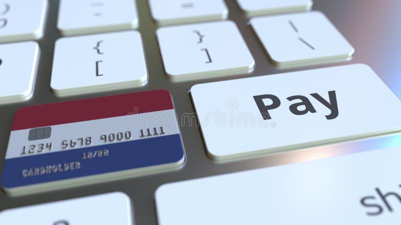 Carte de banque comportant le drapeau des Pays-Bas comme clé sur un clavier d'ordinateur Rendu 3D conceptuel de paiement en ligne illustration libre de droits