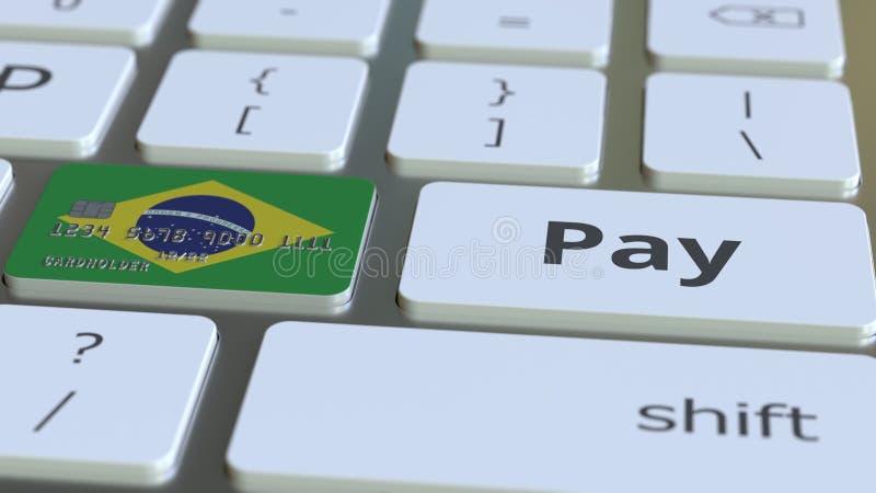 Carte de banque comportant le drapeau du Brésil comme clé sur un clavier d'ordinateur Rendu 3D conceptuel de paiement en ligne br illustration libre de droits