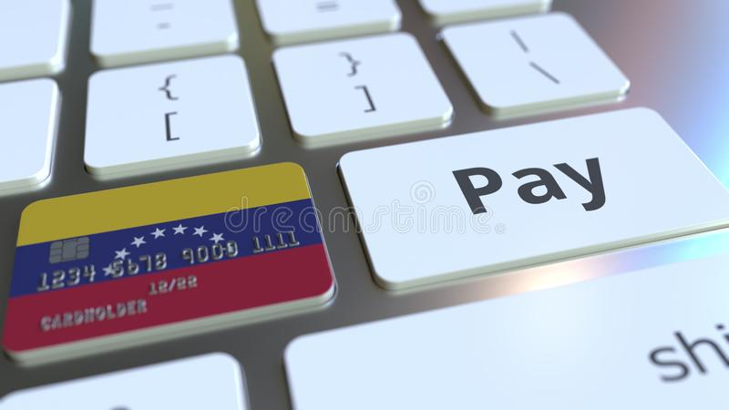 Carte de banque comportant le drapeau du Venezuela comme clé sur un clavier d'ordinateur Rendu 3D conceptuel de paiement en ligne illustration stock