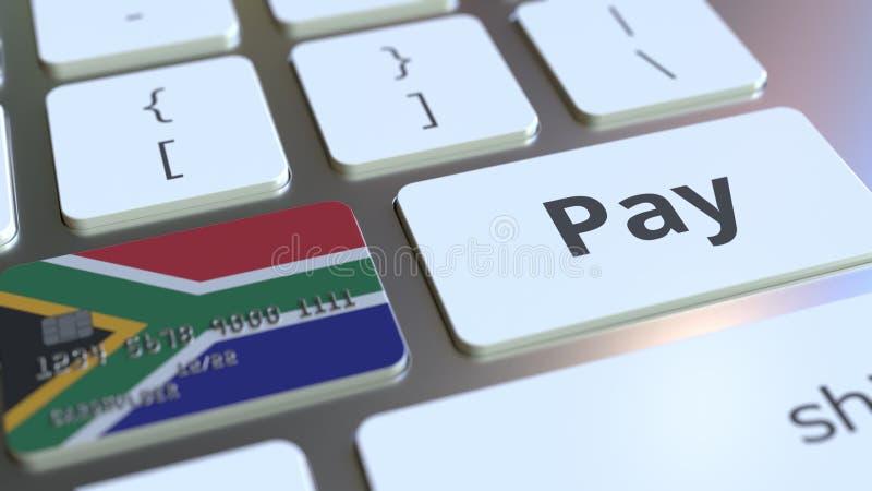 Carte de banque comportant le drapeau de l'Afrique du Sud comme clé sur un clavier d'ordinateur Rendu 3D conceptuel de paiement e illustration stock