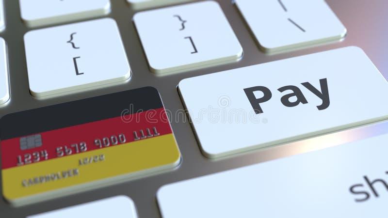 Carte de banque comportant le drapeau de l'Allemagne comme clé sur un clavier d'ordinateur Rendu 3D conceptuel de paiement en lig illustration stock