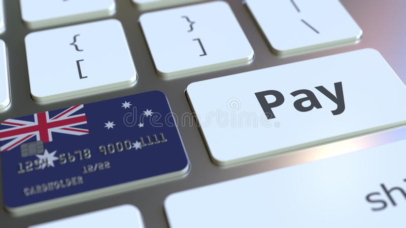 Carte de banque comportant le drapeau de l'Australie comme clé sur un clavier d'ordinateur Rendu 3D conceptuel de paiement en lig illustration de vecteur