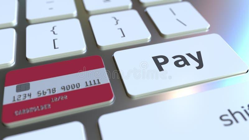 Carte de banque comportant le drapeau de l'Autriche comme clé sur un clavier d'ordinateur Rendu 3D conceptuel de paiement en lign illustration de vecteur