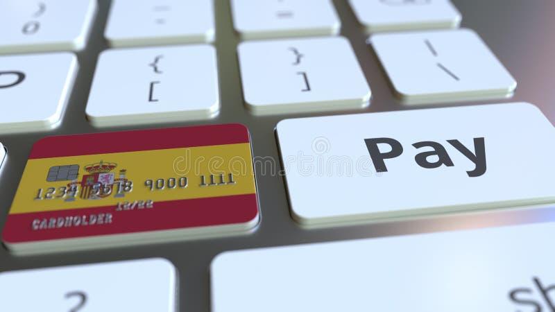 Carte de banque comportant le drapeau de l'Espagne comme clé sur un clavier d'ordinateur Rendu 3D conceptuel de paiement en ligne illustration de vecteur