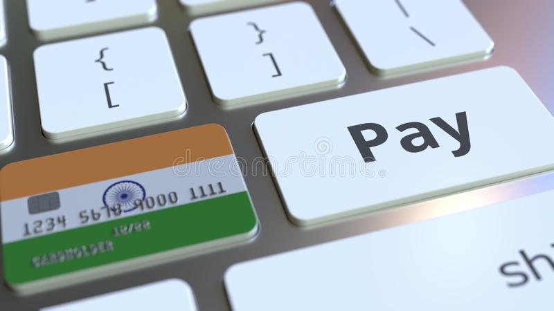 Carte de banque comportant le drapeau de l'Inde comme clé sur un clavier d'ordinateur Rendu 3D conceptuel de paiement en ligne in illustration stock