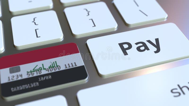 Carte de banque comportant le drapeau de l'Irak comme clé sur un clavier d'ordinateur Rendu 3D conceptuel de paiement en ligne ir illustration stock