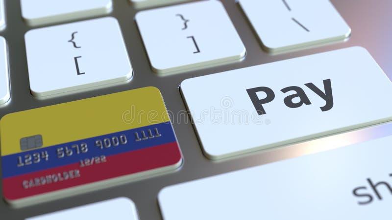 Carte de banque comportant le drapeau de la Colombie comme clé sur un clavier d'ordinateur Rendu 3D conceptuel de paiement en lig illustration de vecteur