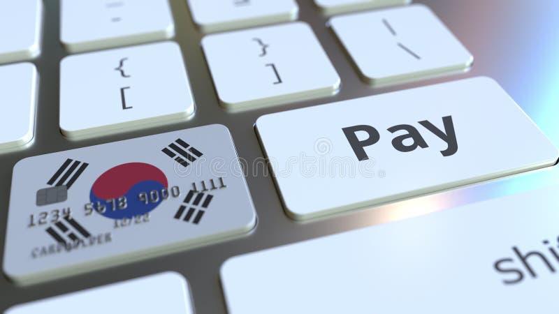 Carte de banque comportant le drapeau de la Corée du Sud comme clé sur un clavier d'ordinateur Rendu 3D conceptuel de paiement en illustration de vecteur