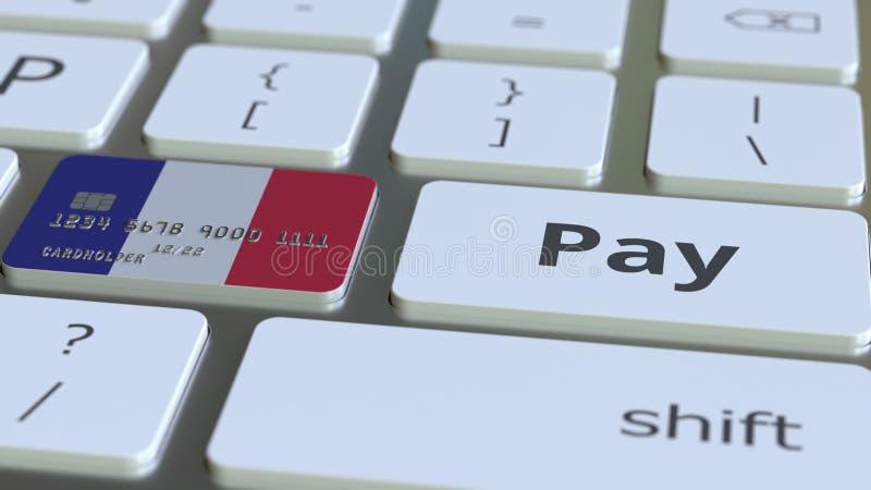 Carte de banque comportant le drapeau de la France comme clé sur un clavier d'ordinateur Rendu 3D conceptuel de paiement en ligne illustration stock