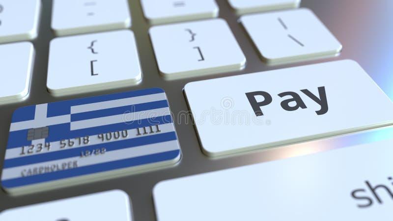 Carte de banque comportant le drapeau de la Grèce comme clé sur un clavier d'ordinateur Rendu 3D conceptuel de paiement en ligne  illustration libre de droits