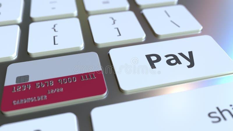 Carte de banque comportant le drapeau de la Pologne comme clé sur un clavier d'ordinateur Rendu 3D conceptuel de paiement en lign illustration stock