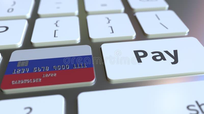 Carte de banque comportant le drapeau de la Russie comme clé sur un clavier d'ordinateur Rendu 3D conceptuel de paiement en ligne illustration de vecteur