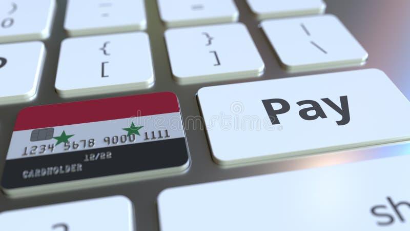 Carte de banque comportant le drapeau de la Syrie comme clé sur un clavier d'ordinateur Rendu 3D conceptuel de paiement en ligne  illustration libre de droits