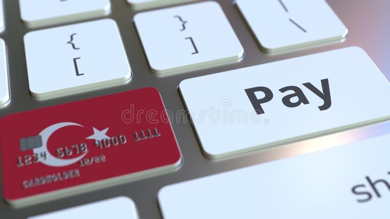 Carte de banque comportant le drapeau de la Turquie comme clé sur un clavier d'ordinateur Rendu 3D conceptuel de paiement en lign illustration stock