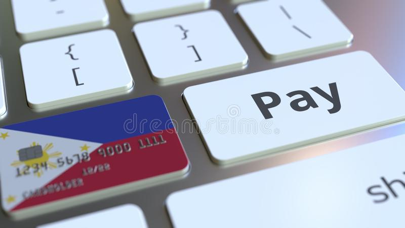 Carte de banque comportant le drapeau de Philippines comme clé sur un clavier d'ordinateur Rendu 3D conceptuel de paiement en lig illustration stock
