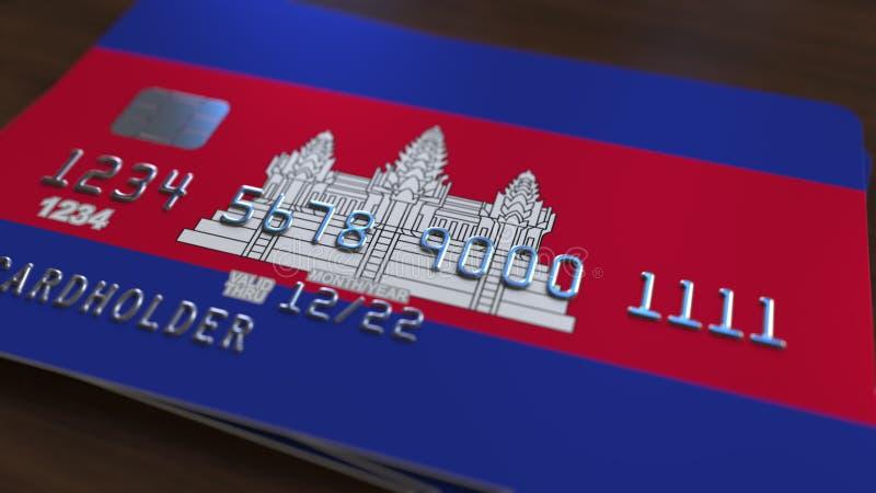 Carte de banque en plastique comportant le drapeau du Cambodge Rendu 3D relié au système encaissant national cambodgien illustration stock