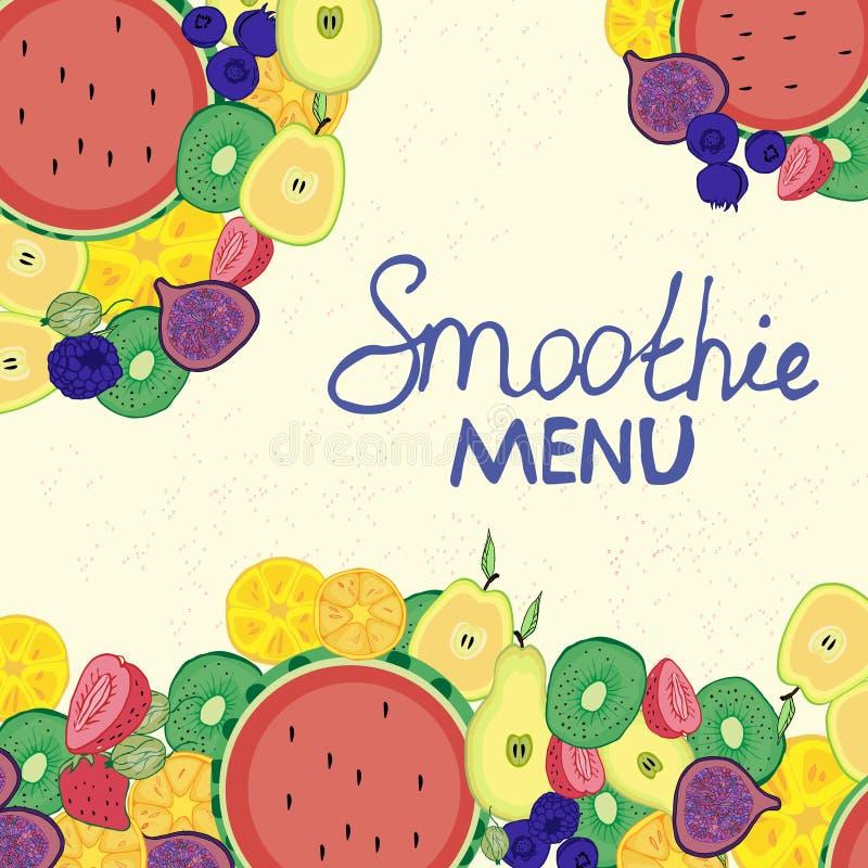 Carte de barre, café d'été, menu, coloré, juteux, décoration de fruit, bande dessinée illustration libre de droits