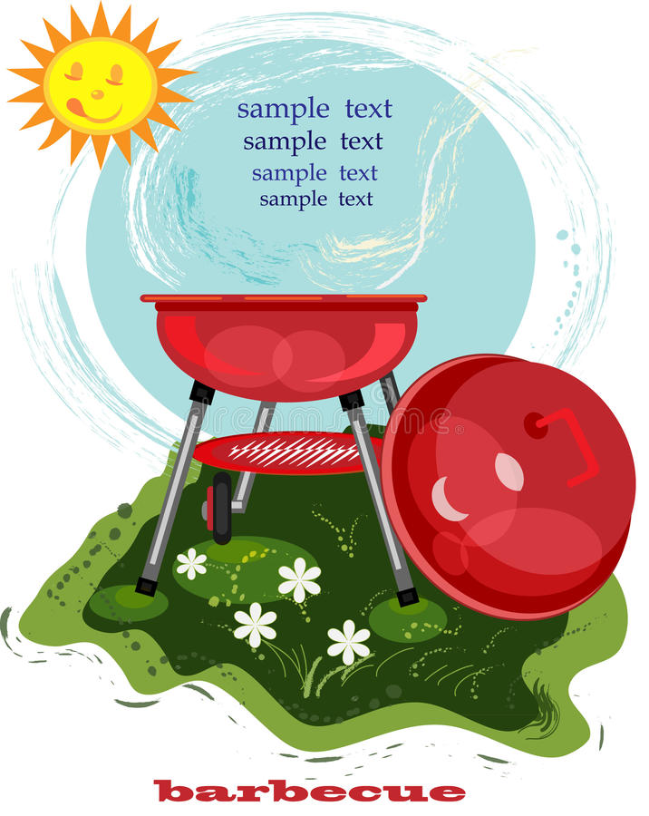Carte de BBQ avec le brasero illustration stock