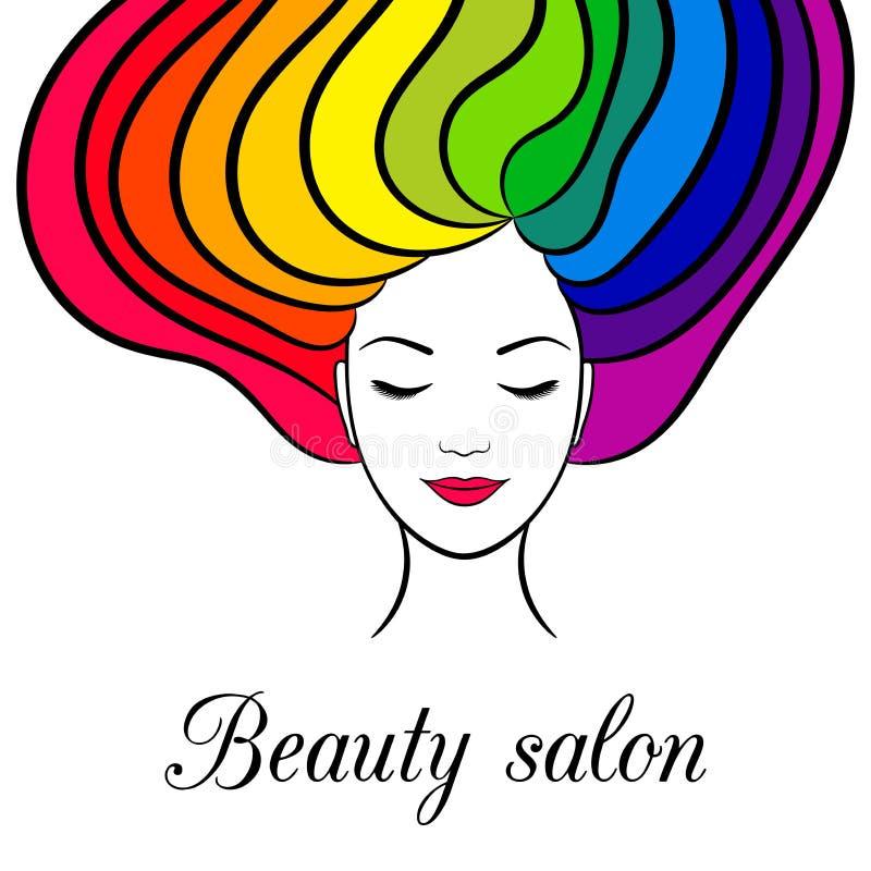 Carte de beauté avec la femme avec les yeux et les cheveux fermés d'arc-en-ciel illustration de vecteur