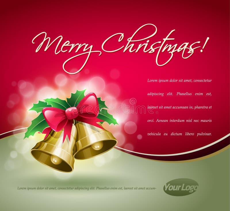 Carte de Bells de Noël. illustration stock
