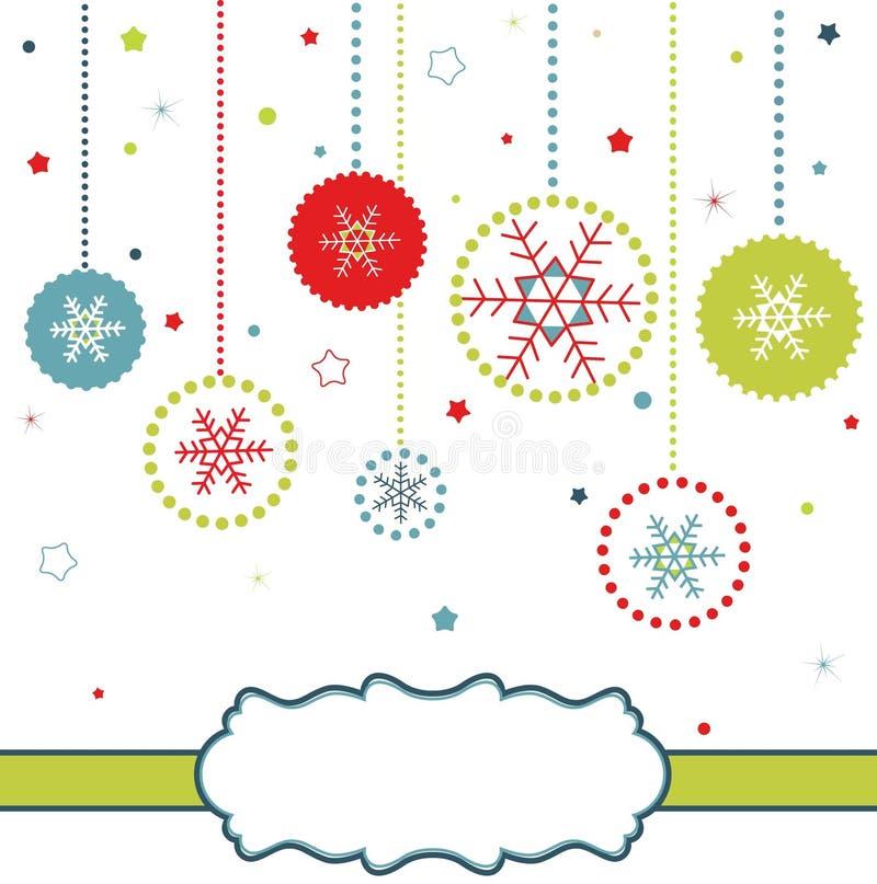 Carte de billes de Noël avec des flocons de neige illustration de vecteur