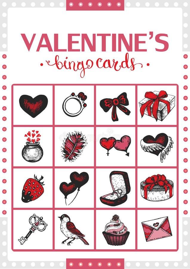Carte de bingo-test du vintage de Valentine pour le jeu Carte 2 illustration de vecteur
