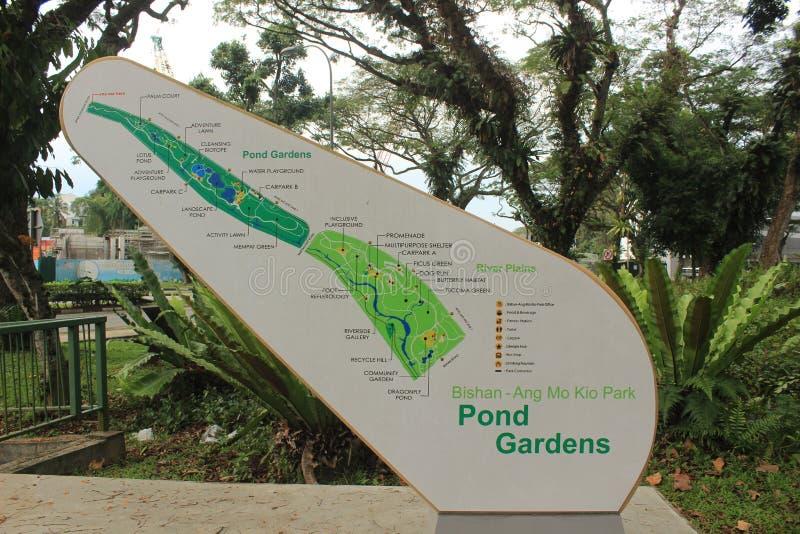 Carte de Bishan Ang Mo Kio Park à Singapour images stock