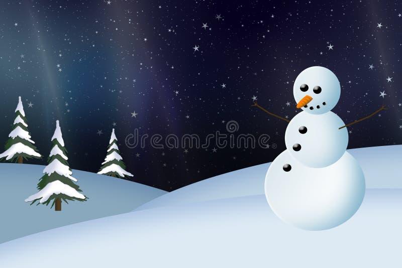 Carte de bonhomme de neige et de Noël de lumières du nord illustration stock