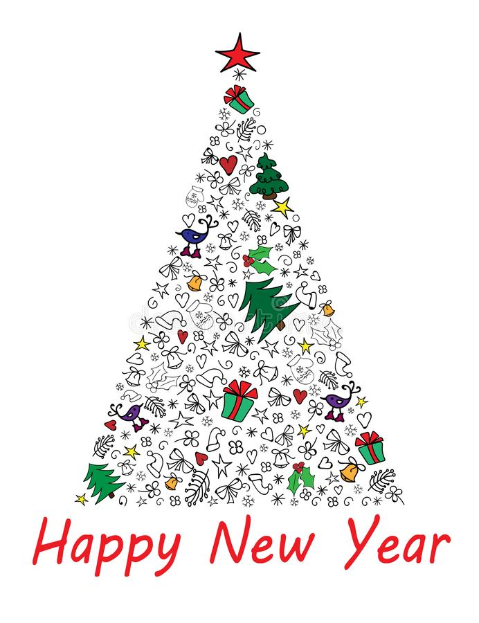 Carte de bonne année avec l'arbre de Noël multicolore Illustration de vecteur illustration stock