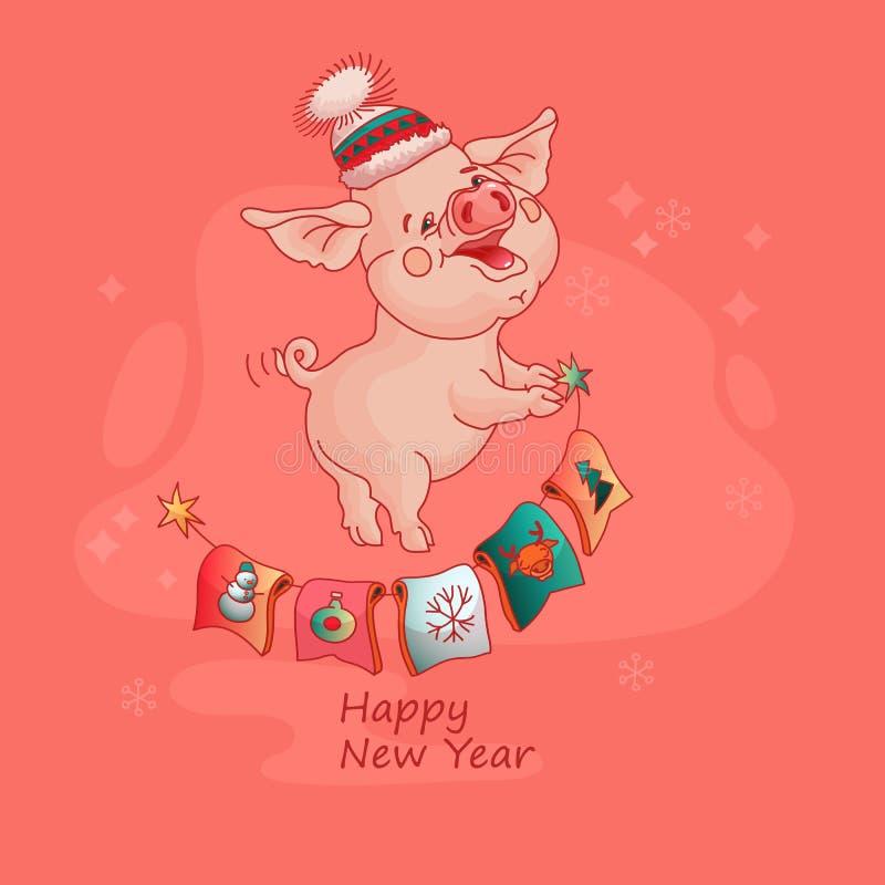Carte de bonne année avec le porc mignon Vecteur illustration libre de droits