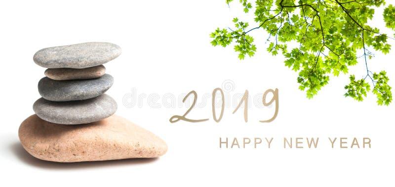 Carte 2019 de bonne année de bannière de zen images libres de droits