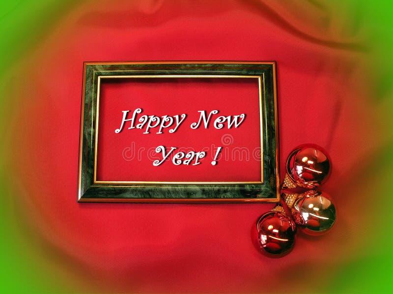 Carte de bonne année faite utilisant les boules brillantes rouges, Lithuanie images stock