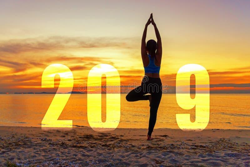Carte 2019 de bonne année de yoga Position de pratique de yoga de femme de silhouette en tant qu'élément du numéro 2019 image libre de droits