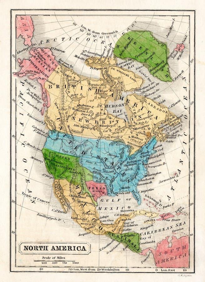 Carte 1845 de Boynton de l'Amérique du Nord avec la République du Texas illustration de vecteur