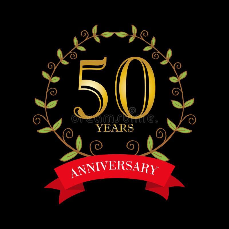 carte de célébration d'anniversaire de 50 ans illustration stock
