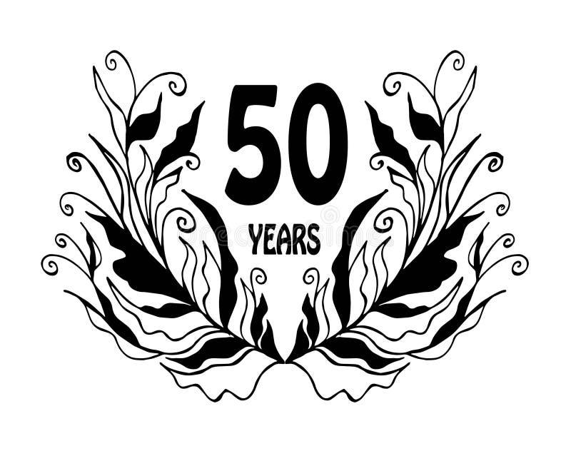 carte de célébration d'anniversaire de 50 ans - vecteur illustration de vecteur