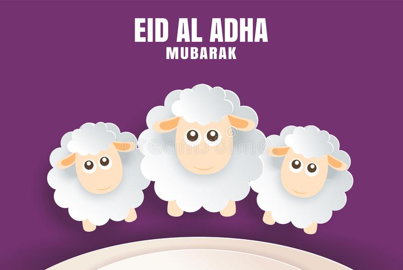 Carte de célébration d'Eid Al Adha Mubarak avec des moutons dans le pur de papier d'art illustration de vecteur