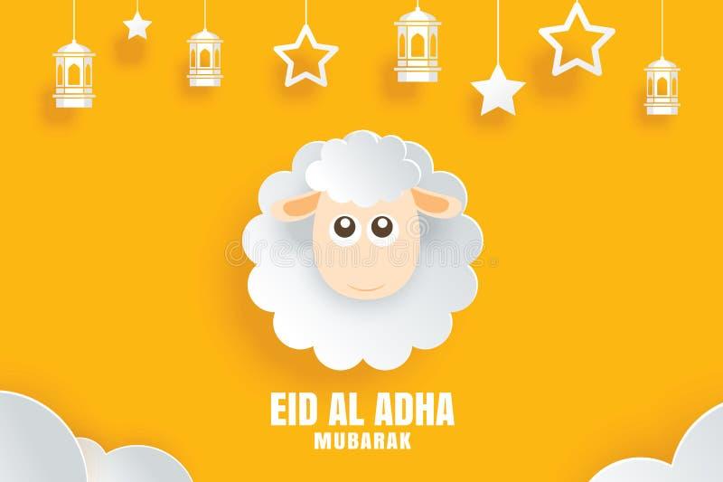 Carte de célébration d'Eid Al Adha Mubarak avec des moutons dans le yel de papier d'art illustration stock