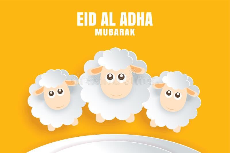 Carte de célébration d'Eid Al Adha Mubarak avec des moutons dans le yel de papier d'art illustration libre de droits